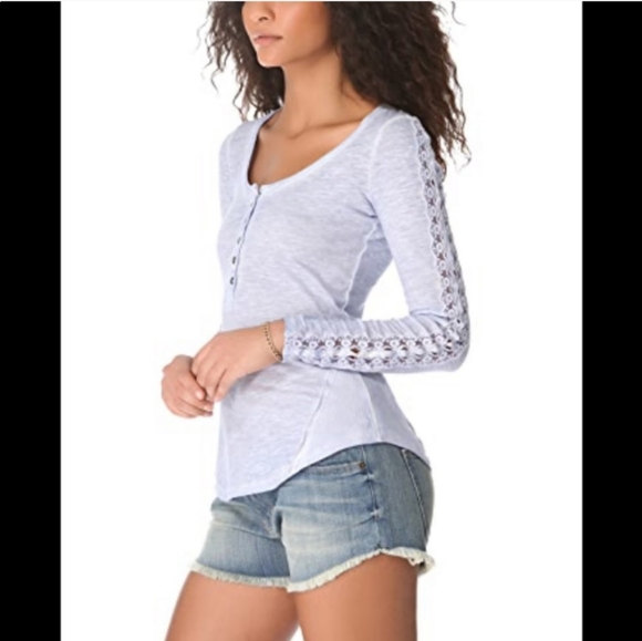 Free People Henley lace top